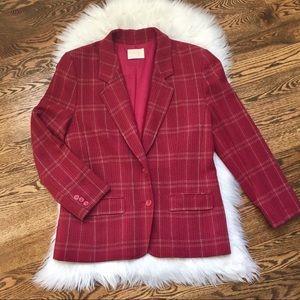 EUC Pendleton 100%virgin wool red plaid blazer L